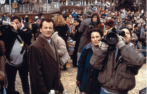 Bill Murray, Andie McDowell and Chris Elliot star in Groundhog Day.