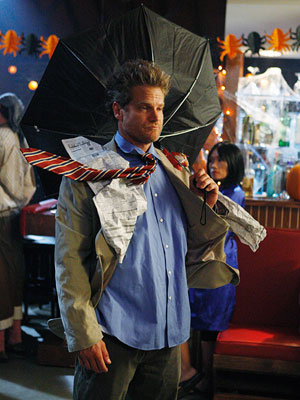 Bobby Cobb, played by Brian Van Hault, dressed as the Windy Guy on Cougar Town