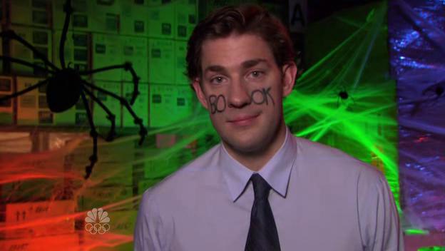 Jim Halpert, played by John Krasinski, dressed as Facebook on The Office