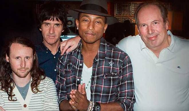 Michael Einziger, Johnny Marr, Pharrell Williams, and Hans Zimmer (Photo courtesy of Columbia Pictures)