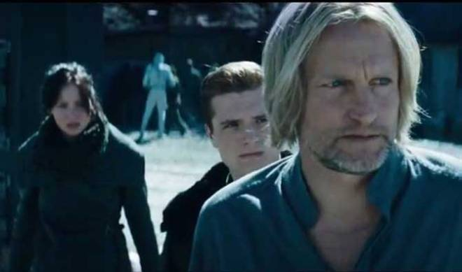 Lawrence, Hutcherson, and Woody Harrelson as Haymitch Abernathy (Photo courtesy of Lionsgate)
