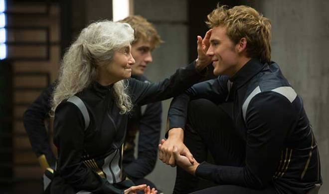 Lynn Cohen as Mags, and Claflin (Photo courtesy of Lionsgate)