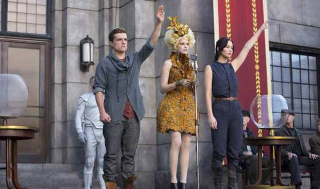 Hutcherson, Elizabeth Banks as Effie Trinkett, and Lawrence (Photo courtesy of Lionsgate)