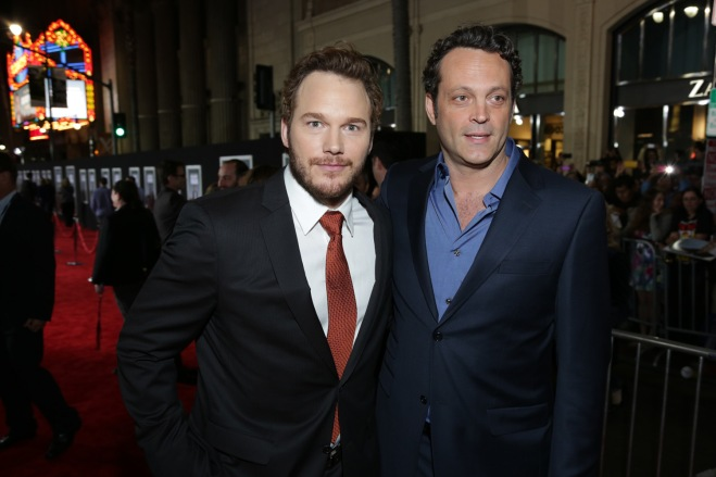 "Pratt and Vince Vaughn walk the red carpet for ""Delivery Man."" (Photo courtesy of Dreamworks/Disney)"
