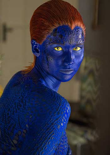 "Mystique (Jennifer Lawrence) gives us some attitude. Take that, Damon Salvatore! Women can do ""sexy smolder,"" too!"