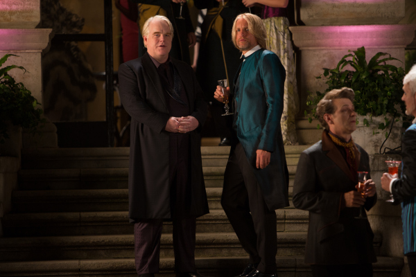 Philip Seymour Hoffman as new Gamemaker Plutarch Heavensbee and Woody Harrelson as former District 12 victor Haymitch Abernathy