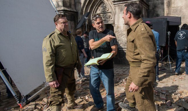 "John Goodman, with George Clooney and Jean Dujardin on the set of ""The Monuments Men"" (Photo courtesy of 20th Century Fox)"