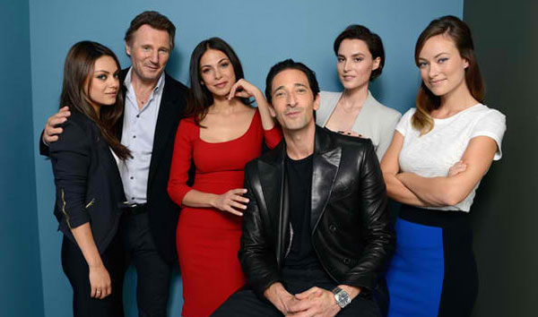 "The ""Third Person"" cast (L-R): Mila Kunis, Liam Neeson, Moran Atias, Adrien Brody, Loan Chabanol, Olivia Wilde. ""Third Person"" opens exclusively in Ayala Malls cinemas on Feb. 19. (Photo courtesy of Ayala Malls cinemas)"