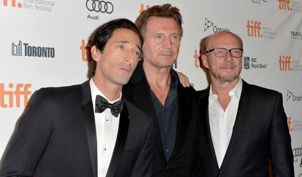 "The men of ""Third Person"" (L-R): Adrien Brody, Liam Neeson, director Paul Haggis (Photo courtesy of Ayala Malls cinemas)"