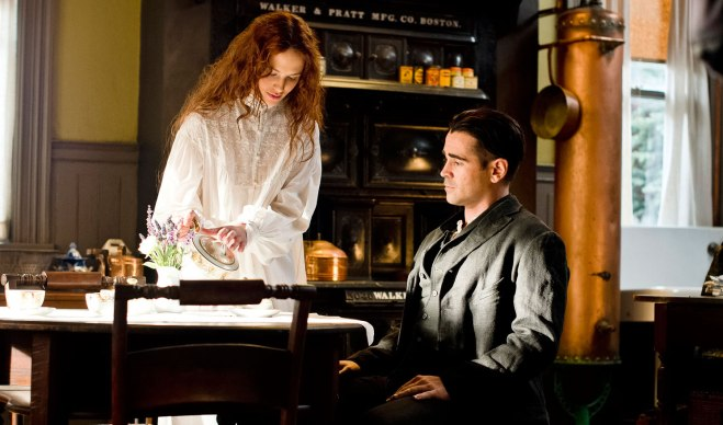 "Jessica Brown Findlay and Colin Farrell in ""Winter's Tale"" (Photo courtesy of Warner Bros.)"
