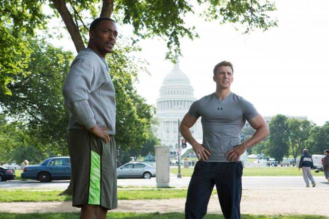 "Anthony Mackie and Chris Evans in ""Captain America: The Winter Soldier"" (Photo courtesy of Marvel/Walt Disney Studios Motion Pictures)"