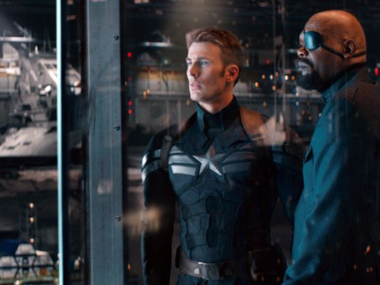 "Chris Evans and Samuel L. Jackson in ""Captain America: The Winter Soldier"" (Photo courtesy of Marvel/Walt Disney Studios Motion Pictures)"