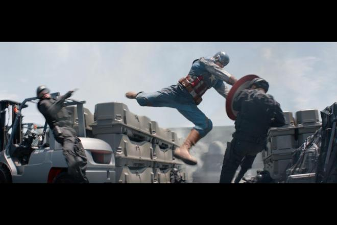 "Chris Evans does some good damage in ""Captain America: The Winter Soldier"" (Photo courtesy of Marvel/Walt Disney Studios Motion Pictures)"