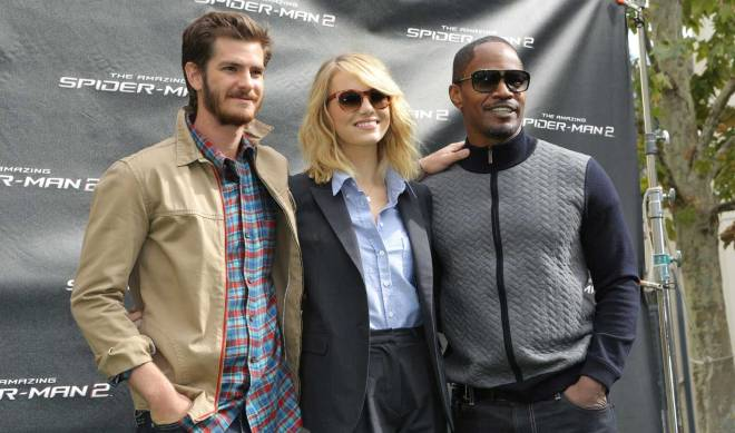 """The Amazing Spider-Man 2"" cast members Andrew Garfield, Emma Stone, and Jamie Foxx (Photo courtesy of Columbia Pictures)"