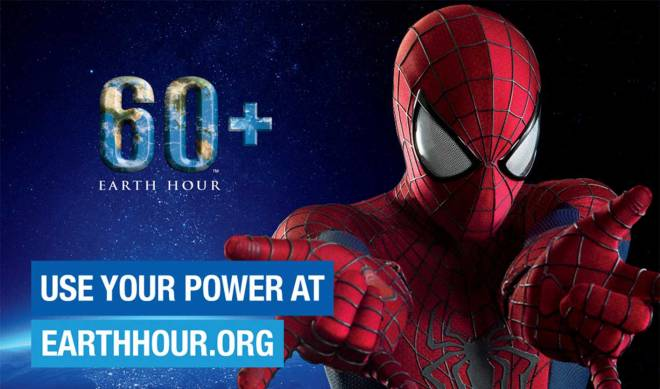"""Be a superhero and join Earth Hour. """"Use your power to make change a reality."""" - earthhour.org (Photo courtesy of earthhour.org/Columbia Pictures)"""