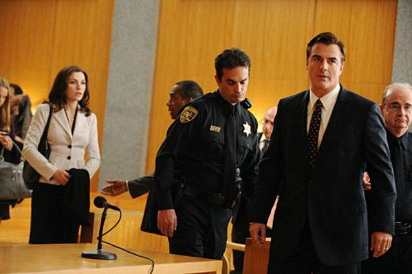 A scene from Season 1 of The Good Wife, starring Julianna Marguiles, with Chris Noth