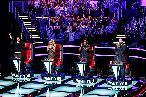 "Adam Levine, Shakira, Usher, and Blake Shelton on ""The Voice"" season 6"