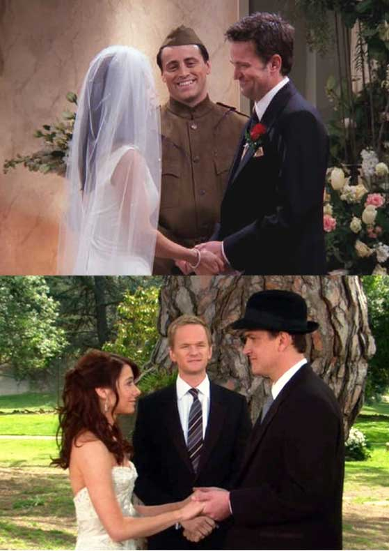 (Top) Monica and Chandler being wed by Joey (Bottom) Lily and Marshall being wed by Barney