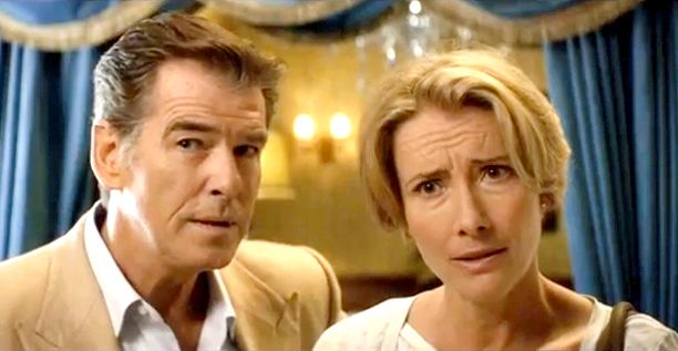 "Pierce Brosnan and Emma Thompson play a divorced couple in ""The Love Punch,"" in Philippine cinemas April 19. (Photo courtesy of Axinite Digicinema)"