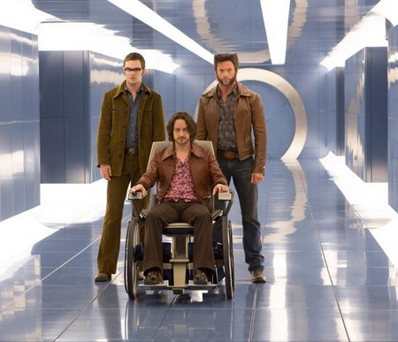 "Nicholas Hoult as Hank McCoy/Beast, James McAvoy as Professor Xavier, and Hugh Jackman as Wolverine in ""X-Men: Days of Future Past"" (Photo courtesy of 20th Century Fox)"