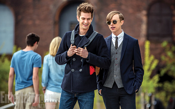 Andrew Garfield as Peter Parker and Dane DeHaan as Harry Osborn on The Amazing Spider-Man 2