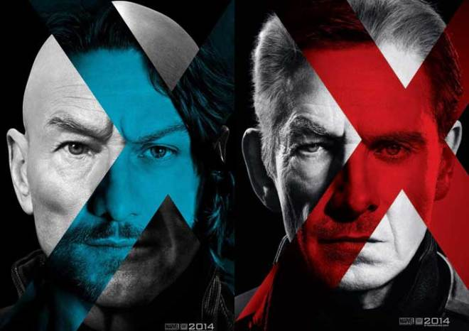 Patrick Stewart and James McAvoy as future and past Professor Charles Xavier, respectively; Ian McKellen and Michael Fassbender as future and past Magneto, respectively (Photos courtesy of 20th Century Fox)