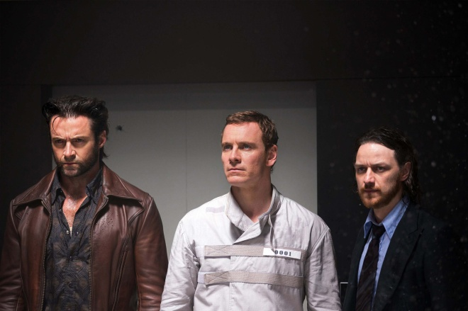 Hugh Jackman as Wolverine, Michael Fassbender as past Erik Lehnsherr/Magneto, and James McAvoy as past Professor Xavier (Photo courtesy of 20th Century Fox)