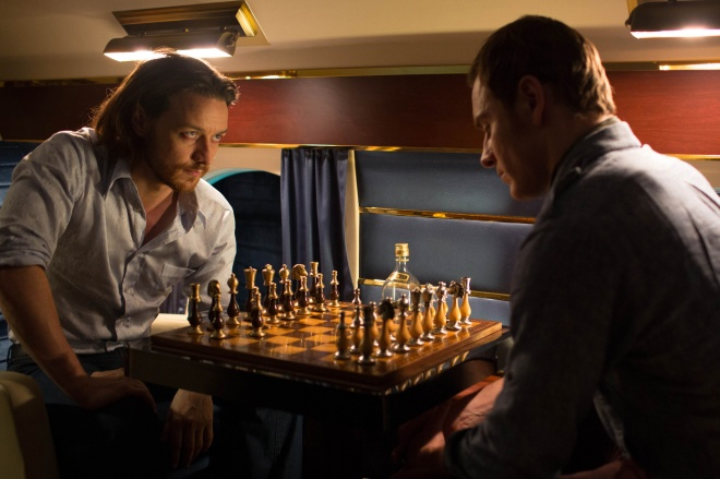 James McAvoy as young Charles Xavier/Professor X and Michael Fassbender as young Erik Lehnsherr/Magneto in X-Men: Days of Future Past