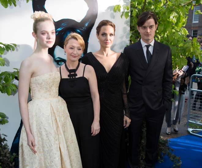 "Elle Fanning, Angelina Jolie, and Sam Riley at a ""Maleficent"" premiere (Photo courtesy of Walt Disney Studios Motion Pictures International)"