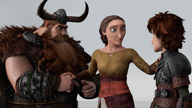 "Stoick the Vast (Gerard Butler), Valka (Cate Blanchett), and Hiccup (Jay Baruchel) in ""How to Train Your Dragon 2"" (Photo courtesy of DreamWorks Animation)"