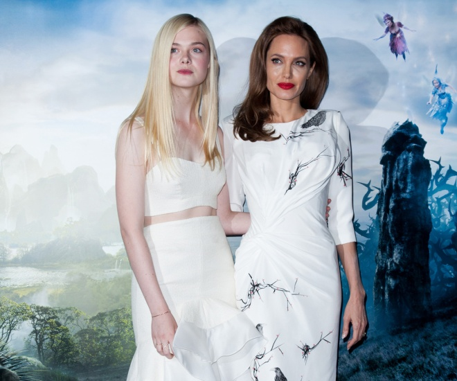 "Elle Fanning and Angelina Jolie at a ""Maleficent"" premiere (Photo courtesy of Walt Disney Studios Motion Pictures International)"