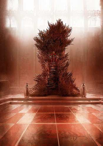The Iron Throne as envisioned by George R. R. Martin, and illustrated by French artist Marc Simonetti HUGE, hulking, black and twisted, with the steep iron stairs in front, the high seat from which the king looks DOWN on everyone in the court… my throne is a hunched beast looming over the throne room, ugly and assymetric…""