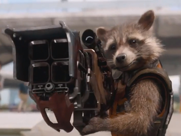 """Turns out Bradley Cooper can be any kind of funny he wants to be. And he doesn't even need to literally be in a movie to do it, just like his Rocket in """"Guardians of the Galaxy."""" (Photo courtesy of Marvel/Disney)."""