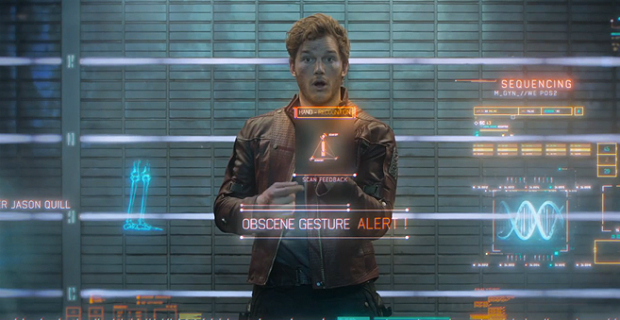 """Quill (Chris Pratt) gives authorities the finger in """"Guardians of the Galaxy."""" (Photo courtesy of Marvel/Disney)"""