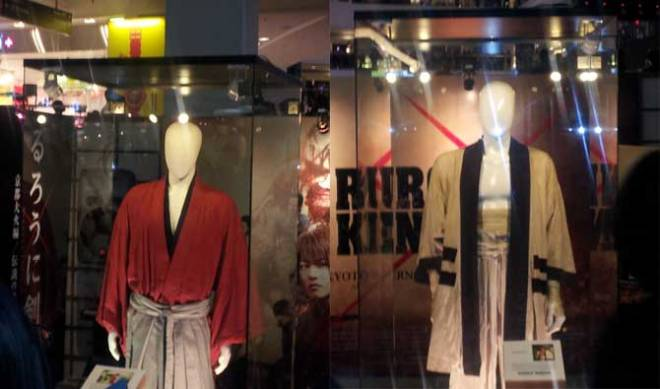 The costumes used by Takeru Satoh and Munetaka Aoki in the movies as Kenshin Himura and Sagara Sanosuke, respectively.