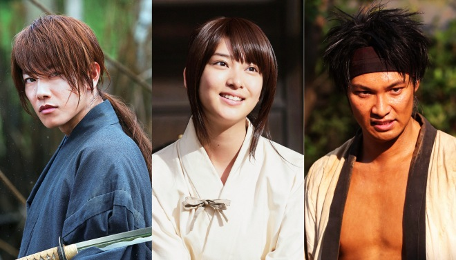 "Takeru Satoh, Emi Takei, and Munetaka Aoki of ""Rurouni Kenshin: Kyoto Inferno""  (Photo courtesy of Warner Bros.)"